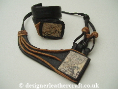 Leather Necklace and Cuff with  Stones